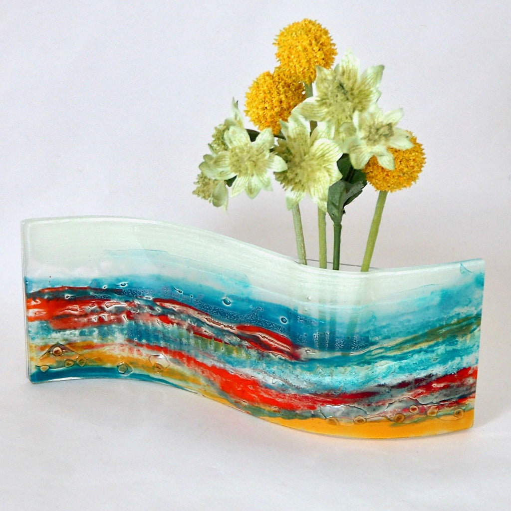 Turquoise and orange fused glass vase - Fired Creations