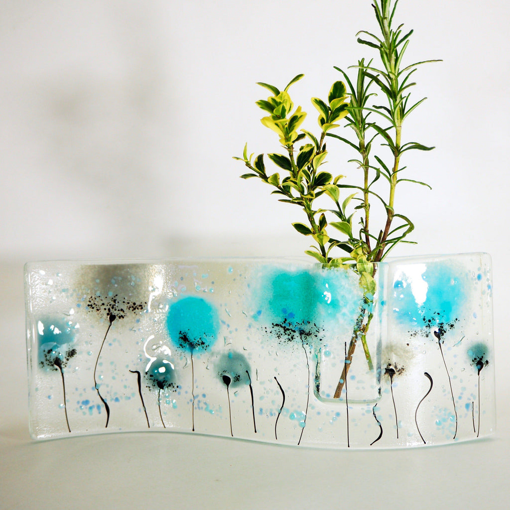 Turquoise flowers fused glass bud vase - Fired Creations