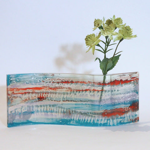 Turquoise, red and orange fused glass vase - Fired Creations