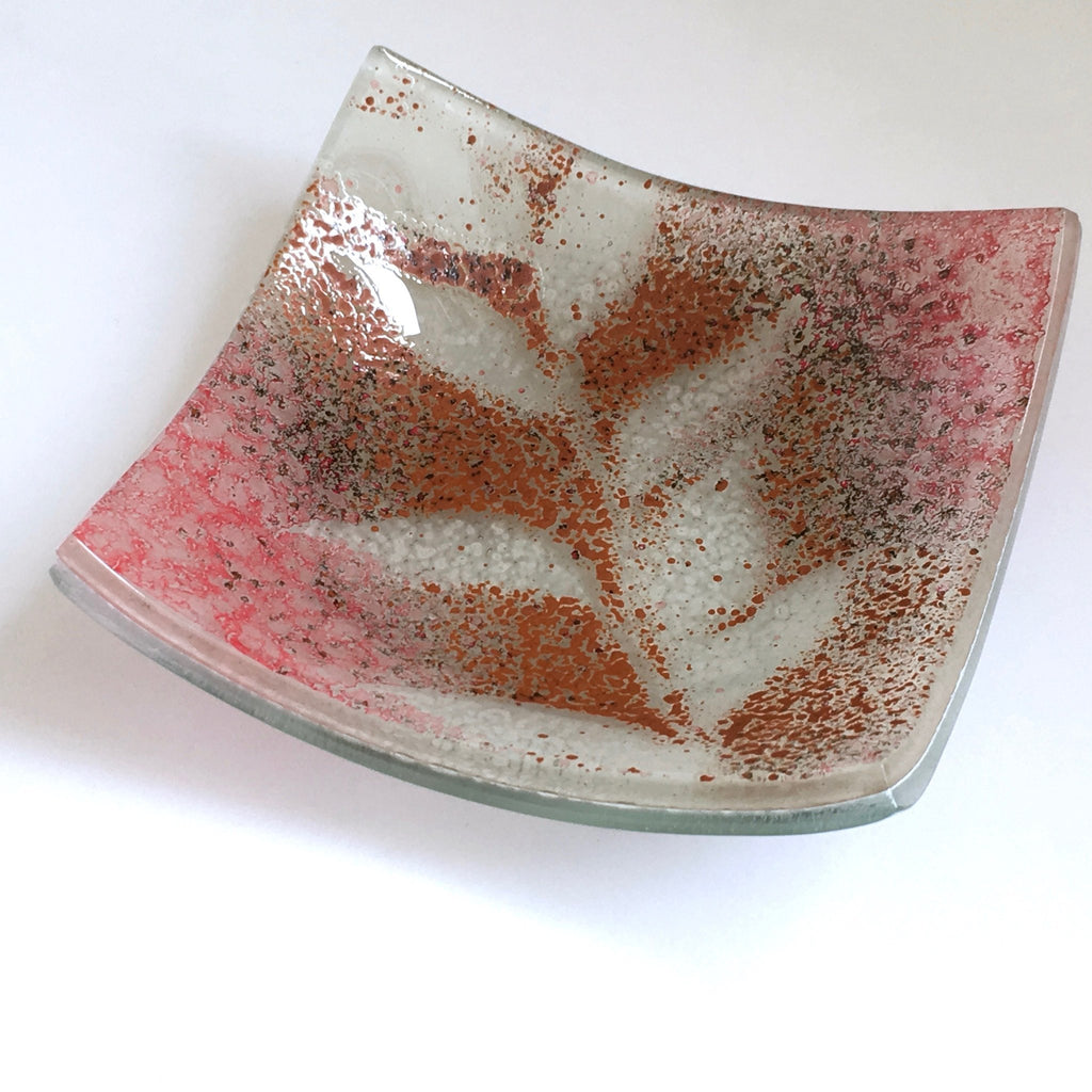 Fused glass votive holder or trinket dish with a brown and pink leaf design - Fired Creations