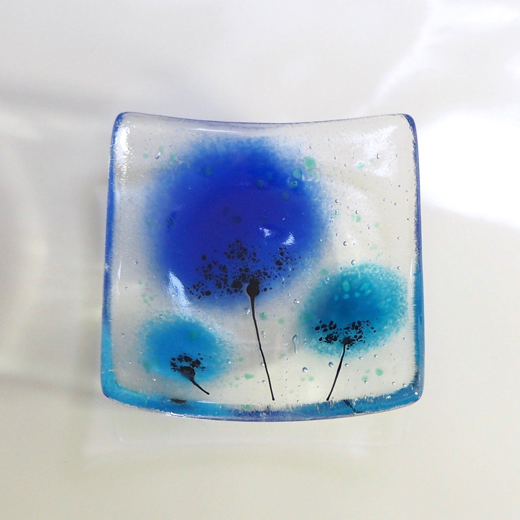Fused glass votive holder trinket dish with a blue flower design - Fired Creations