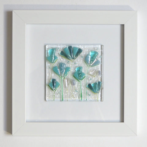 Fused Glass Wall Art - Aqua Abstract Flowers Framed Glass Art