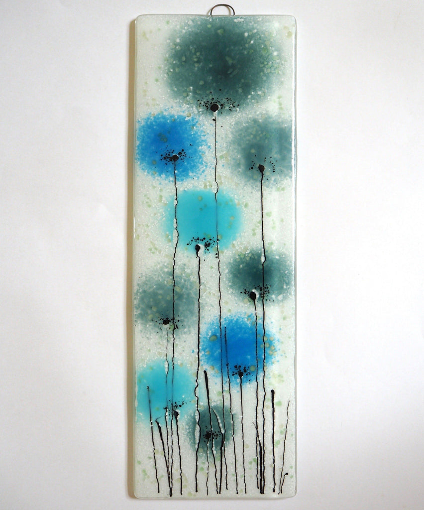 Aqua, turquoise blue flowers fused glass art panel - Fired Creations
