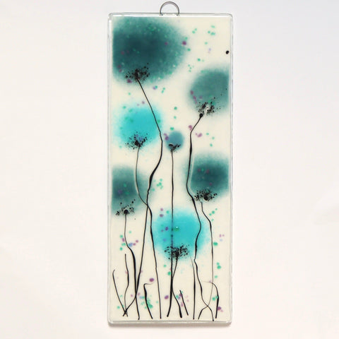 Aquamarine blue and turquoise blue flowers fused glass art panel - Fired Creations