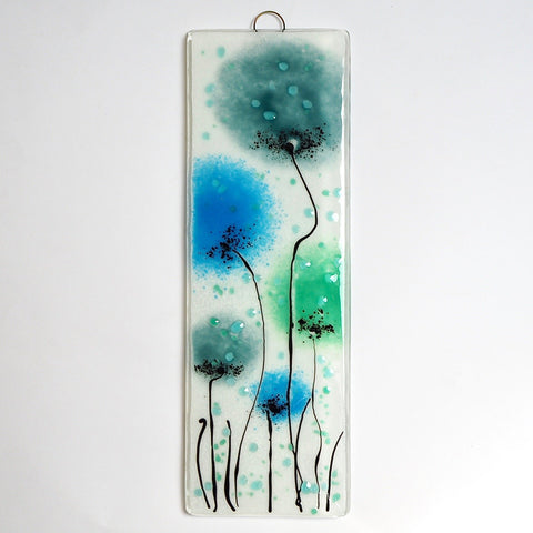 Aquamarine, turquoise and green flowers fused glass art - Fired Creations