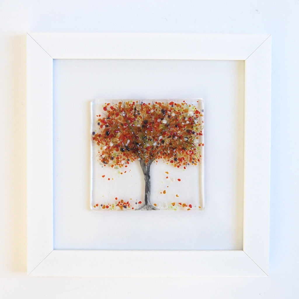 Fused Glass Wall Art - Autumn Tree Framed Glass Art