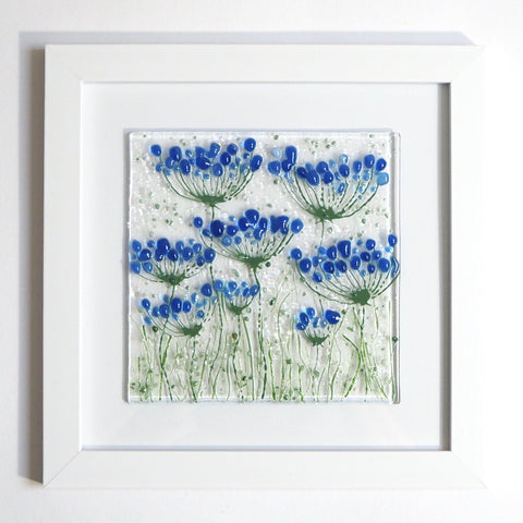 Fused Glass Wall Art - Blue Agapanthus Framed Glass Art