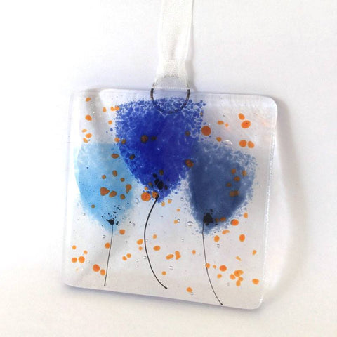 Blue flowers mini glass wall art suncatcher - Fired Creations