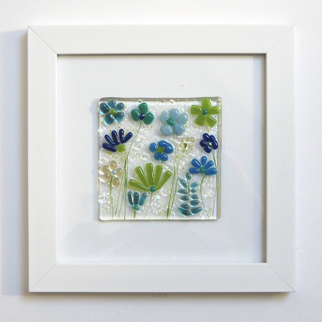 Fused Glass Wall Art - Blue Green Flowers Framed Glass Art