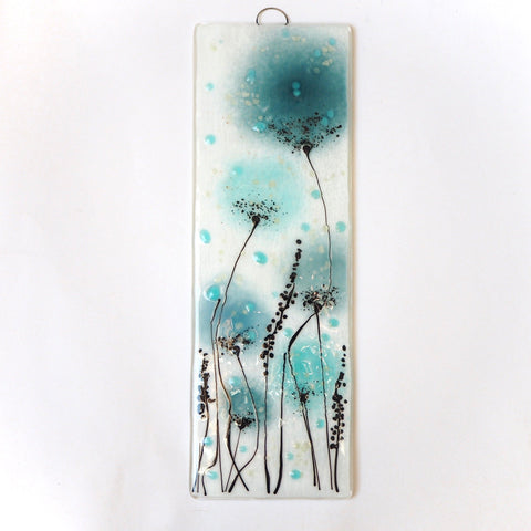 Duck egg blue and sea blue flowers fused glass art - Fired Creations