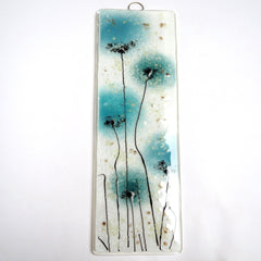 Fused Glass Wall Art - Duck Egg Blue Flowers Fused Glass Art