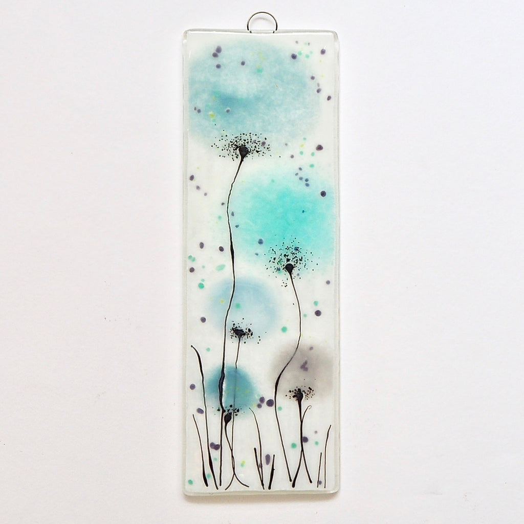 Duck egg blue, light aqua blue and grey flowers fused glass art - Fired Creations