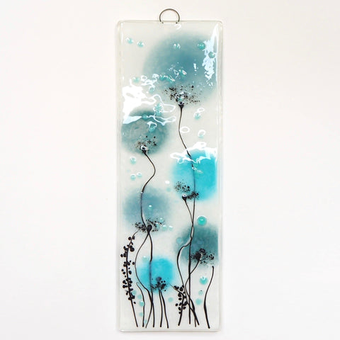 Duck egg blue, sea blue and turquoise flowers fused glass art - Fired Creations
