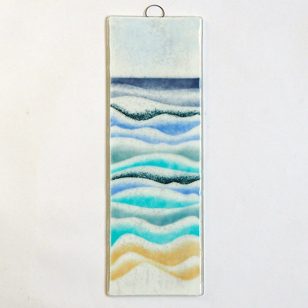 Fused glass art - abstract seascape - Fired Creations