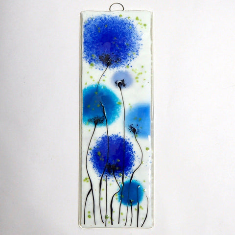 Fused glass wall art blue flower panel - Fired Creations
