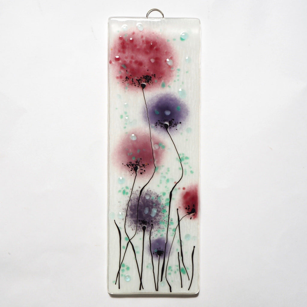 Fused glass wall art flower panel deep pink and purple - Fired Creations