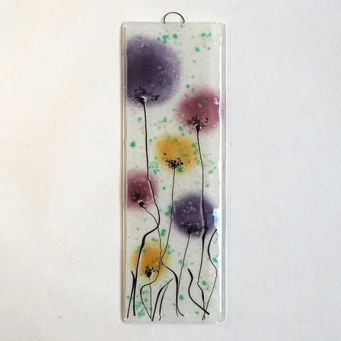Fused glass wall art flower panel deep pink gold and purple - Fired Creations