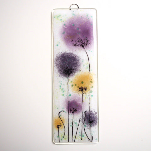 Fused glass wall art flower panel purple and gold - Fired Creations