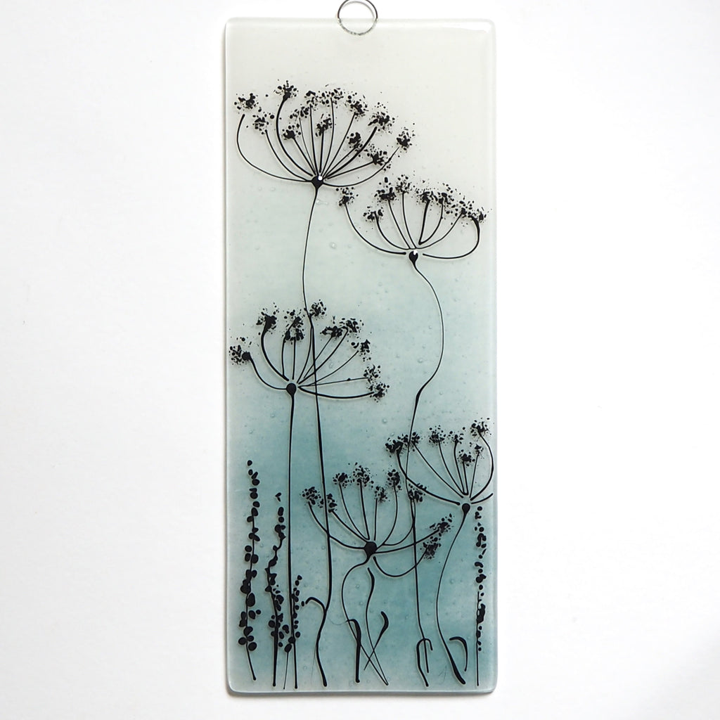Fused Glass Wall Art - Fused Glass Wall Art Panel - Aqua With Cow Parsley