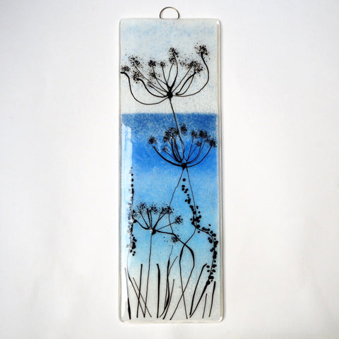 Fused glass wall art panel - blue seascape with seed heads - Fired Creations
