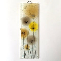 Fused Glass Wall Art - Fused Glass Wall Art Panel Gold, Stone And Yellow