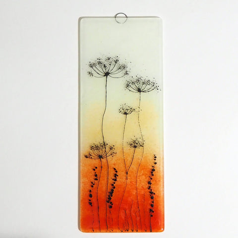 Fused Glass Wall Art - Fused Glass Wall Art Panel - Orange And Gold With Cow Parsley