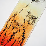 Fused glass wall art panel - orange and gold with cow parsley - Fired Creations
