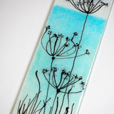 Fused glass wall art panel - turquoise seascape with cow parsley - Fired Creations