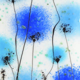 Fused Glass Wall Art - Fused Glass Wall Art Panel With Flowers In Shades Of Blue.