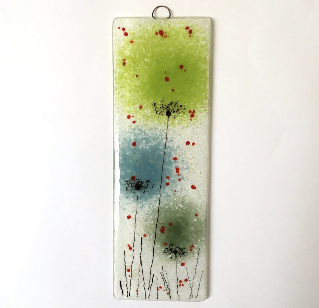 Fused Glass Wall Art - Fused Glass Wall Art Panel With Green And Blue Flowers