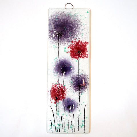 Fused Glass Wall Art - Fused Glass Wall Art Panel With Purple And Pink Flowers