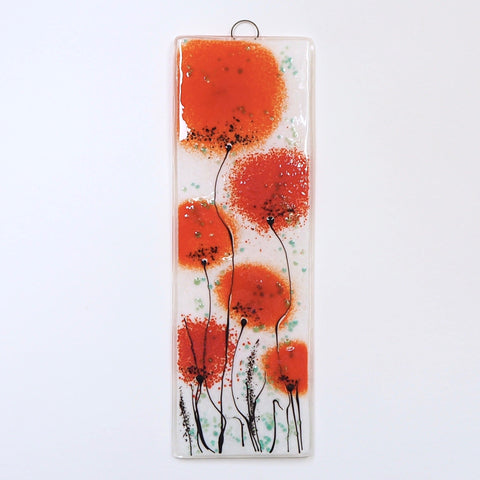 Fused glass wall art panel with red poppies - Fired Creations