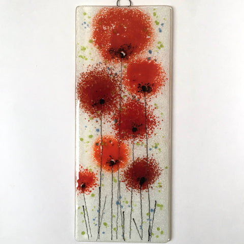 Fused Glass Wall Art - Fused Glass Wall Art Panel With Red Poppy Flowers