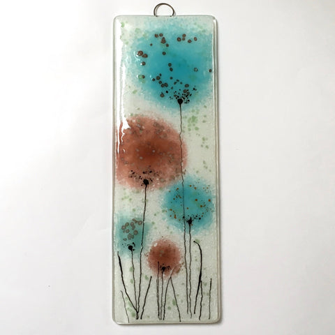 Fused Glass Wall Art - Fused Glass Wall Art Panel With Turquoise And Coral Flowers