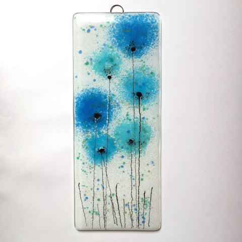 Fused Glass Wall Art - Fused Glass Wall Art Panel With Turquoise Poppy Flowers