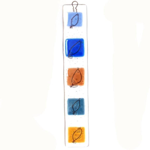 Fused glass wall art panel with wire leaves in blue and amber - suncatcher - Fired Creations