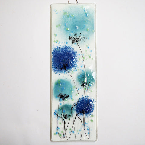 Fused glass wall art with navy and soft blue flowers - Fired Creations