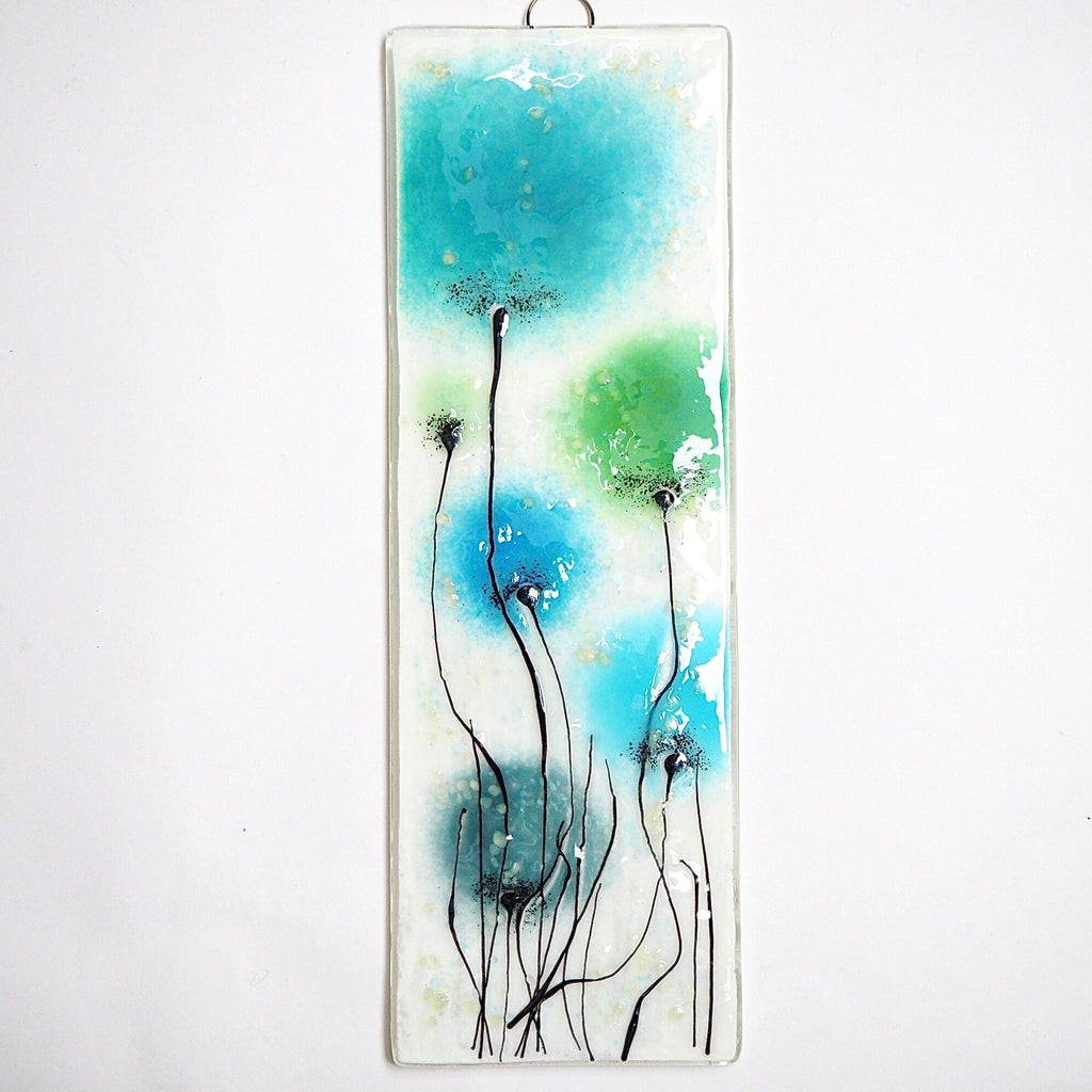 Fused glass wall art with turquoise and green flowers - Fired Creations