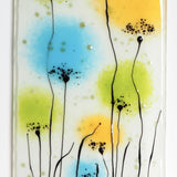 Fused Glass Wall Art - Glass Wall Art Panel With Flowers In Orange, Green And Turquoise.