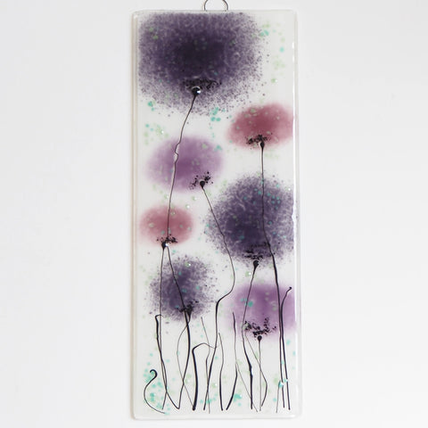 Fused Glass Wall Art - Glass Wall Art Panel With Flowers In Purple And Pink.