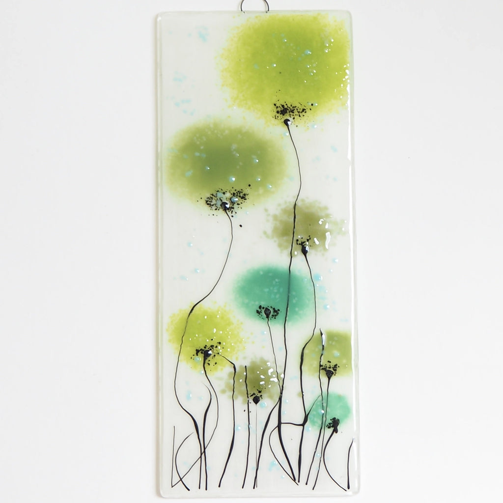 Glass Wall Art Panel With Flowers In Shades Of Green Fired Creations