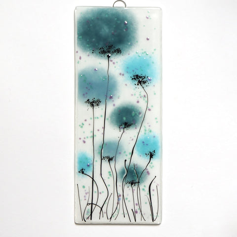 Fused Glass Wall Art - Glass Wall Art Panel With Flowers In Shades Of Turquoise And Aquamarine