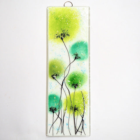 Green flowers fused glass wall art - Fired Creations