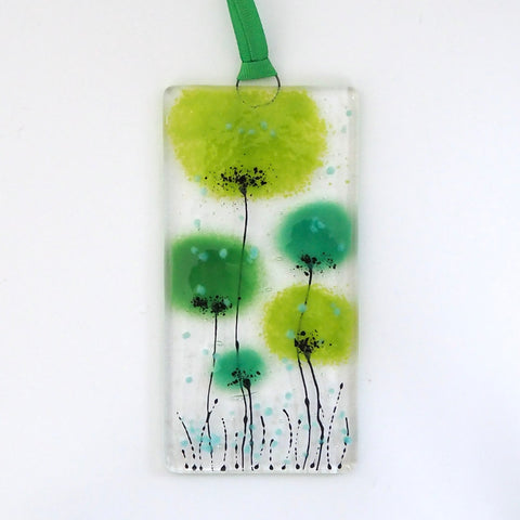 Green flowers fused glass wall art sun-catcher - Fired Creations
