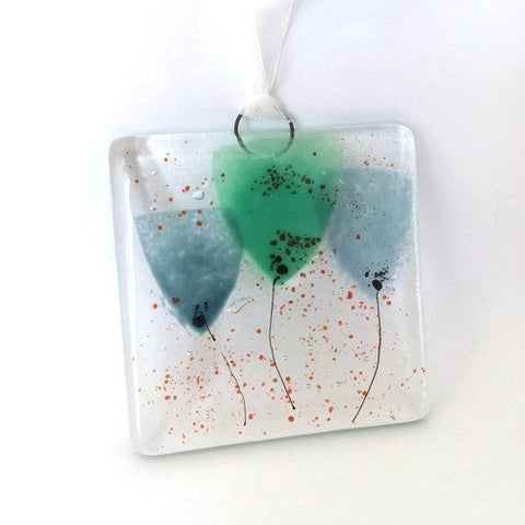 Green flowers mini glass wall art suncatcher - Fired Creations