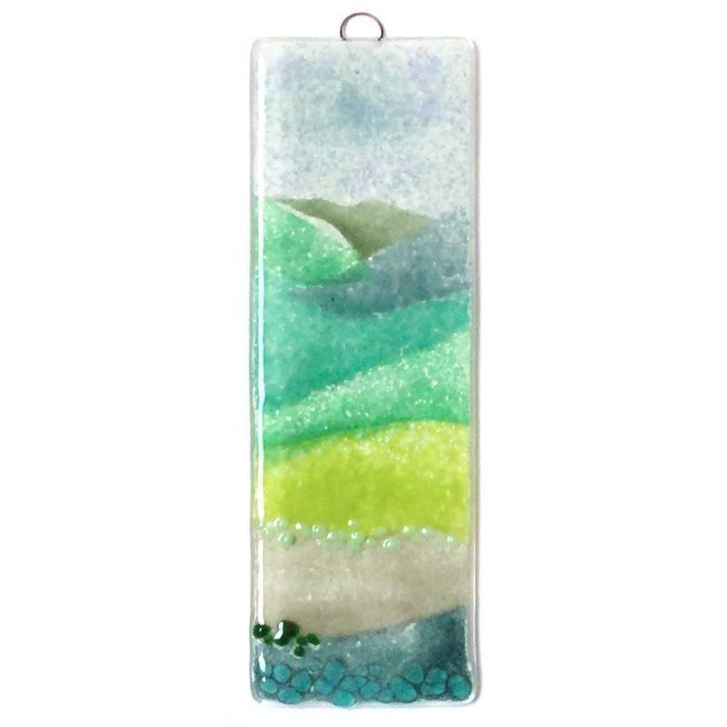 Green hills fused glass art - Fired Creations