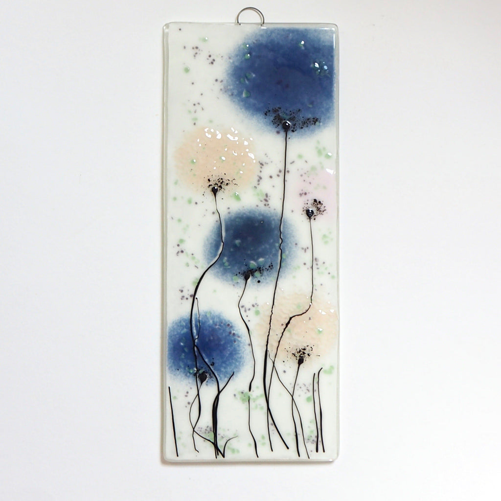 Navy blue and pink flowers fused glass art panel - Fired Creations
