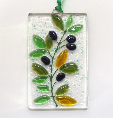 Olive branch fused glass wall art sun-catcher - Fired Creations
