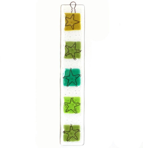 Fused glass wall art panel olive, emerald and lime green suncatcher - Fired Creations