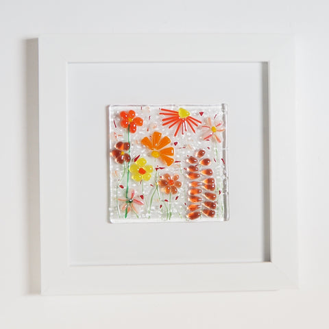 Fused Glass Wall Art - Orange Flowers Framed Glass Art